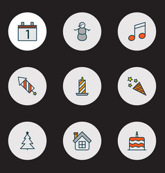 new icons colored line set with christmas tree vector image