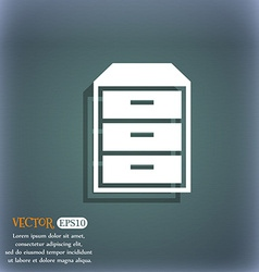 Nightstand icon on the blue-green abstract vector