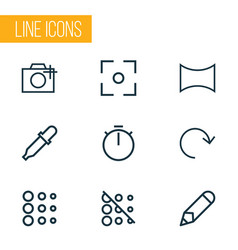 photo icons line style set with angle pen vector image