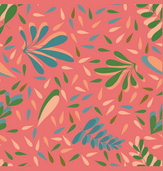 pink leaves seamless background pattern vector image