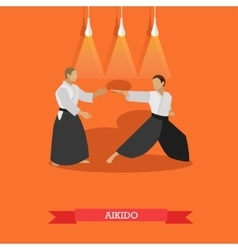 Poster of martial arts aikido fighters vector