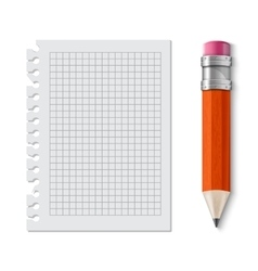 Realistic yellow pencil icon vector image