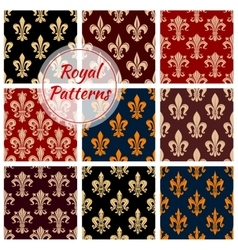 Royal fleur-de-lis floral seamless patterns set vector image