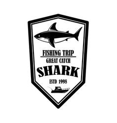 sea fishing emblem template with shark fish vector image