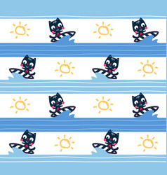 seamless pattern cute surfer cat vector image