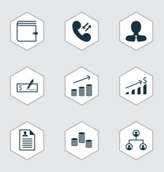 Set of 9 human resources icons includes tree vector