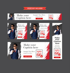 Set of chic clothing red and white sale web vector