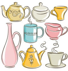 Set of different tableware vector