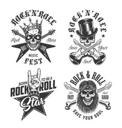 set rock and roll emblems vector image