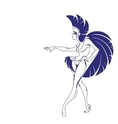 silhouette design of dancing samba queen vector image