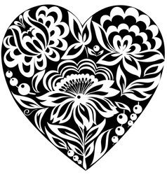 Silhouette of the heart and flowers on it black-an vector