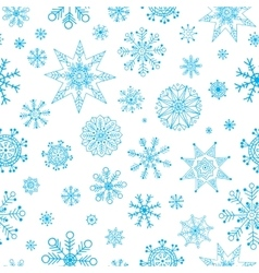 Snowflakes Hand Drawn Pattern Winter vector