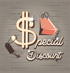 special discount label style retro vector image