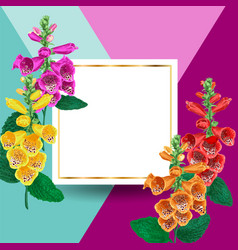 Spring and summer golden floral frame with flowers vector