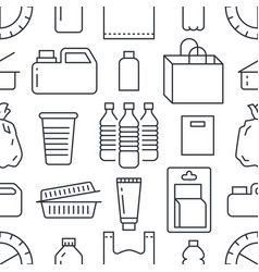 Stop using plastic seamless pattern with flat line vector