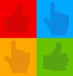 Striped transparent cursor hands vector