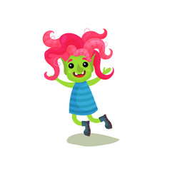 Sweet happy girl troll with pink hair and green vector