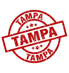 Tampa red round grunge stamp vector