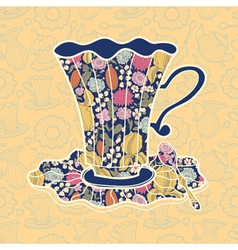 Teacup background vector