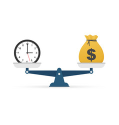 Time is money on scales icon money and time vector