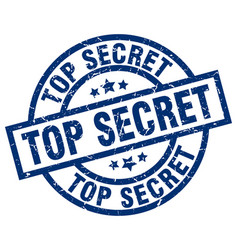 Top secret blue round grunge stamp vector