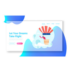 tourist flying on air balloon website landing page vector image