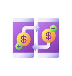 Transfer funds flat color icon vector