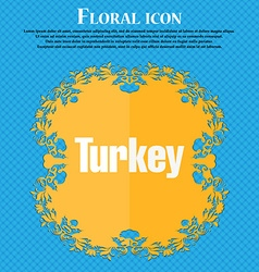 Turkey icon Floral flat design on a blue abstract vector