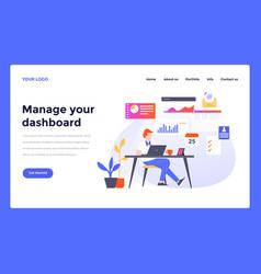 web design flat modern template - manage dashboard vector image