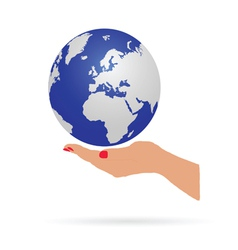 Woman hand holding earth vector