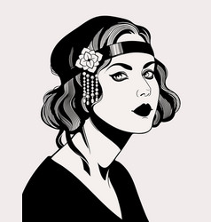 Women hairstyle fashion retro 20 - 30s years vector
