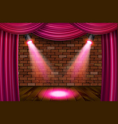 Wooden stage with pink curtains vector