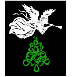 Angel tree christmas vector image vector image