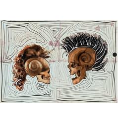 Dialogue - myth - skulls vector
