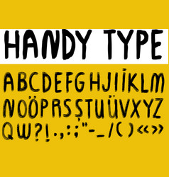 hand written font alphabet with numbers vector image vector image