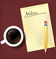 Notes and coffee vector image