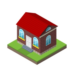 Residential isometric house with grass and ground vector image vector image