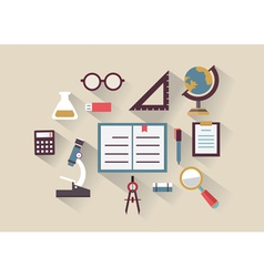 Flat concept of education and knowledge Symbols vector image