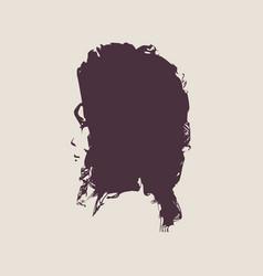 little girl profile silhouette vector image
