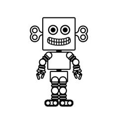 silhouette retro robot toy flat icon vector image