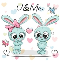 Two Cute Rabbits vector image vector image