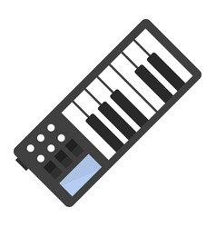 vintage synthesizer musical equipment flat design vector image