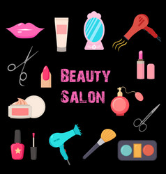 beauty salon set of flat cartoon icons business vector image