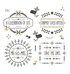 Black and golden wedding message banners set vector
