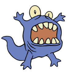 cute tadpole monster funny cute vector image vector image