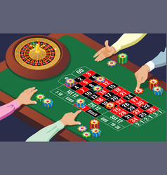 isometric casino roulette table template vector image vector image