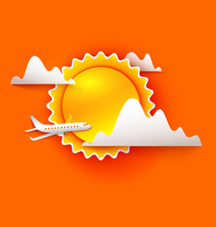 airplane is flying through the clouds vector image