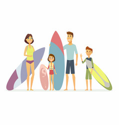 family goes surfing - cartoon people characters vector image vector image