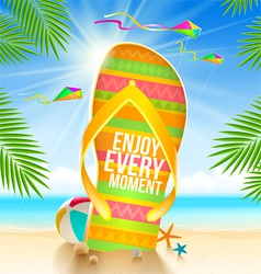 Flip-flop with summer greeting vector image vector image