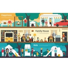 Happiness Family House Kids flat interior outdoor vector image